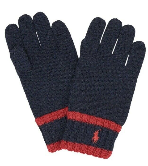 MSRP $39.99 Polo Ralph Lauren Knit Gloves Navy and Red Embroidered Logo Size 4-7