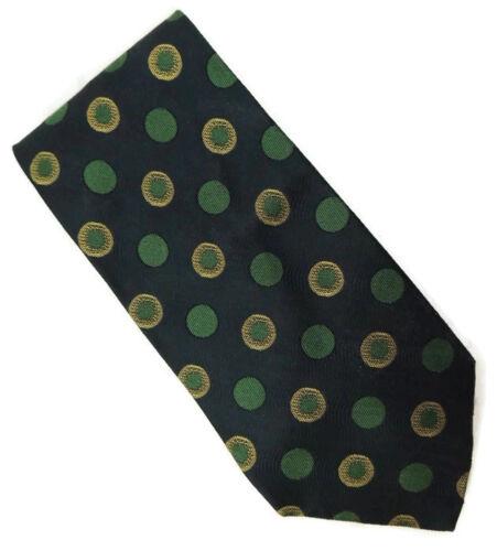 Giorgio Armani Blue with Green and Yellow Polka Dots Silk Neck Tie