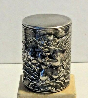 Antique Unger Brothers Sterling Silver Loves Dream Cupid Maiden Thread Holder 27