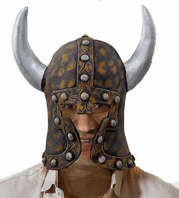 Herren Barbar Latex Helm & Hörner Sfx Wikinger Krieger Fancy-Dress Kostüm Neu