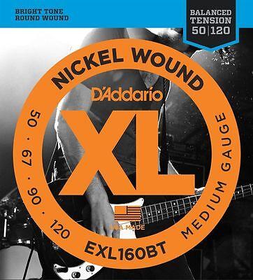 D'Addario 1 set EXL160BT Balanced Tension Nickel Bass Strings .050-.120 Medium