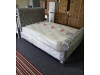 🎆💖🎆BRAND NEW IN BOX🎆💖🎆CRUSHED VELVET SLEIGH DOUBLE BED FRAME IN BLACK SILVER & CHAMPAGNE