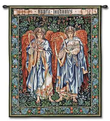 RELIGIOUS STAINED GLASS GARDEN OF ANGELS ART TAPESTRY WALL HANGING 42x52