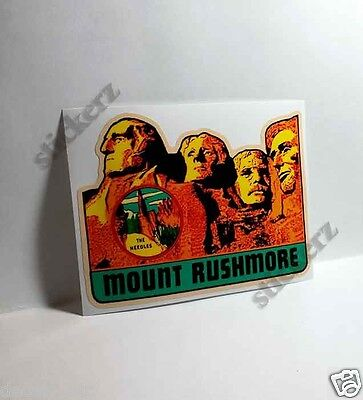 MOUNT RUSHMORE Vintage Style Travel Decal / Vinyl Sticker, Luggage Label