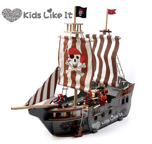 Imaginarium WOODEN Pirate SHIP 68CM LARGE BOAT Pretend PLAY SET w/ Dolls RRP129