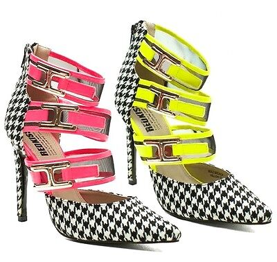 Red Kiss Houndstooth Pointy toe Pump Mesh High Heel Women's Shoe Pink Red (Houndstooth High Heel Pump)