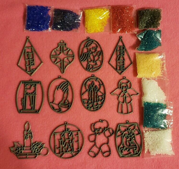 Makit & And Bakit Stained Glass 12 Piece Christmas Ornaments Mini w Crystals