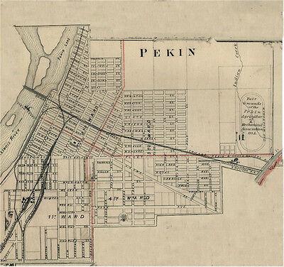 Pekin Illinois Tazewell County IL 1876  Map Genealogy