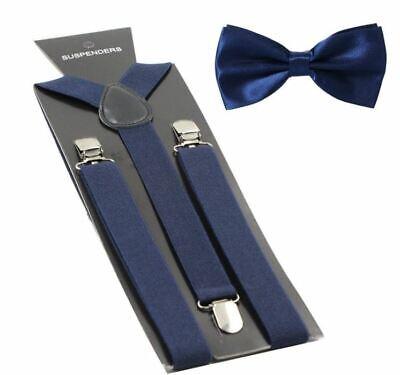 New Navy Blue BowTie Matching Collar Band Suspender & Bow Tie Set Wedding - Blue Suspenders