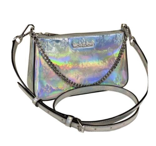 Michael Kors Jet Set Iridescent Medium Pouchette Hologram Cr