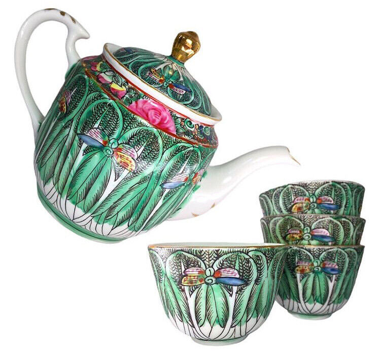 Rare Bok Choy Famille Verte VINTAGE Teapot And Four Cups