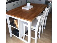 Ikea Kitchen Island (Stenstorp) and 2 bar stools