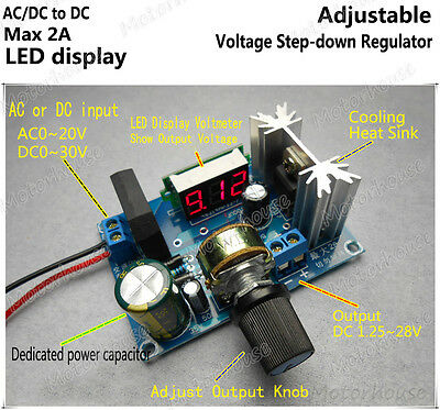 Digital Led Adjust Volt Regulator Buck Step-down Converter Acdc To Dc5v 12v 24v