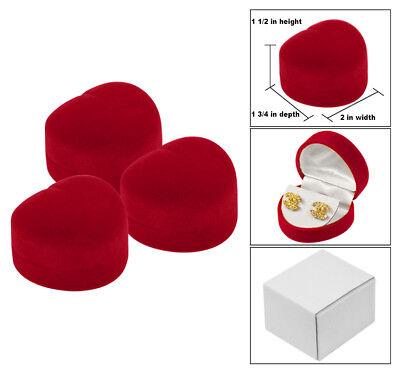 3 Earring Gift Box Red Velour Heart Shaped Earring Gift Boxes Red Jewelry Box - Red Gift Boxes