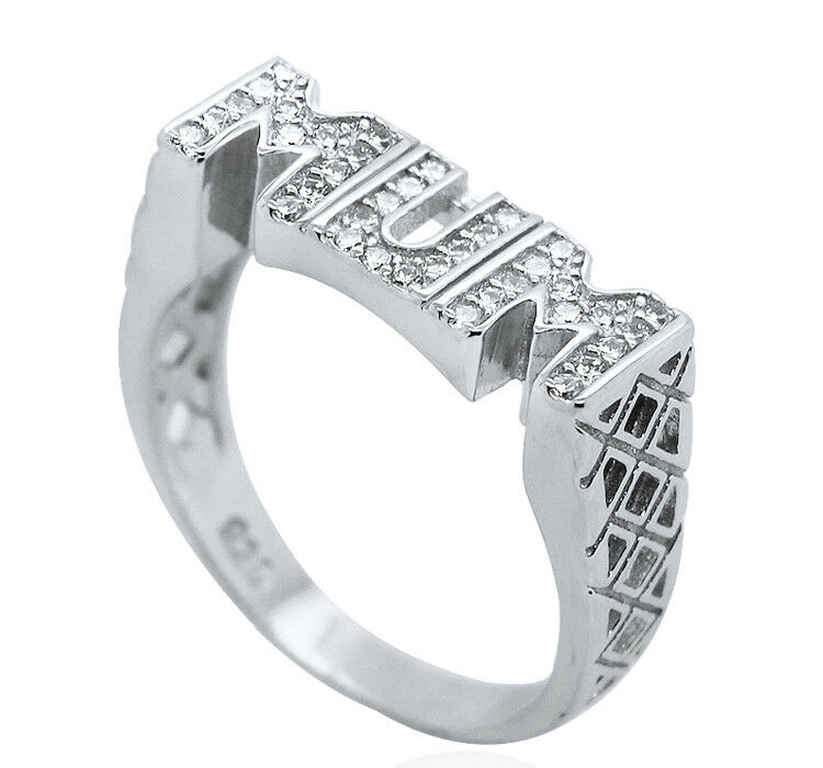 Sterling Silver Cz Mum Ring Mother Mummy Cubic Zirconia Large