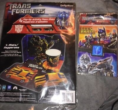 Transformers Pop-up Activity Place Mats & Invitations Thank You Notes - Party