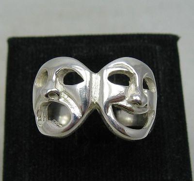 Sterling Silber Ring Masken Komödie Tragödie punziert solide 925 handgefertigt