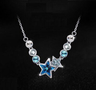 Anhänger Geburtstaggeschenk Kristall Sterne Silberkette blau (Geburtstag Halsketten)