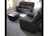G PLAN grey Leather sofa, recliner chair and footstool. Immaculate! Can deliver for FREE! BARGAIN!