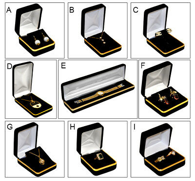 Black Velvet Jewelry Gift Boxes Gold Band Jewelry Box Metal Box Lots of 1~3~6~12