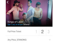 2 x Kings of leon Saturday 1st July STANDING TICKETS £80