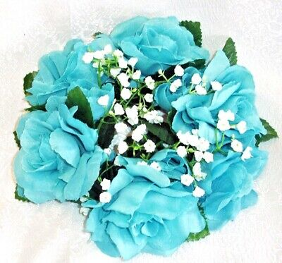 Teal Wedding Rings (Candle Rings Teal Aqua Turquoise Silk Wedding Flowers Party Centerpieces)