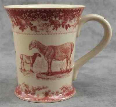 RED & CREAM TRANSFERWARE VICTORIAN SHEEP RAM GOAT TOILE MUG CUP ~ 12 Ounce ~