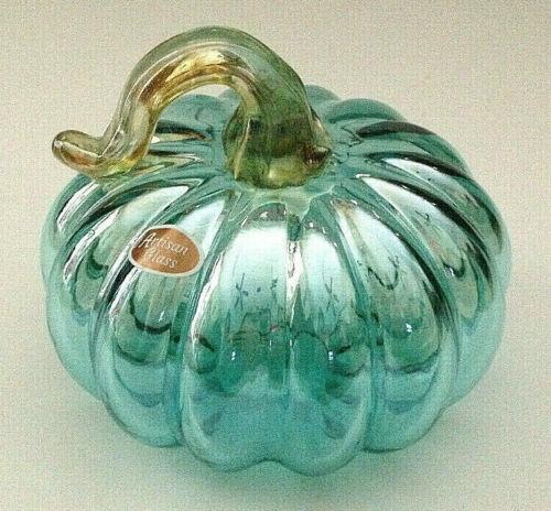 """NEW 5"""" wide AQUA BLUE Art Glass Pumpkin Translucent Hand Blown"""