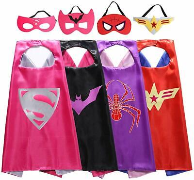 Superhero Girl Costumes Kids (4 Set Superhero Capes Masks for Girls Kids Party Costumes Dress Up Cosplay)