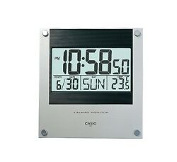 Casio ID-11-1D Wall Clock New Original Temperature Digital Silver Black ID-11
