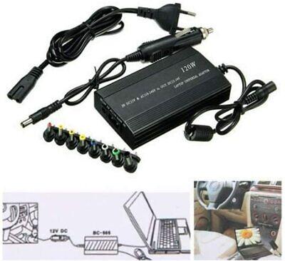 ADAPTADOR UNIVERSAL NOTEBOOK PORTATIL AC CARGADOR 120W USB 8 CLAVIJAS RED COCHE