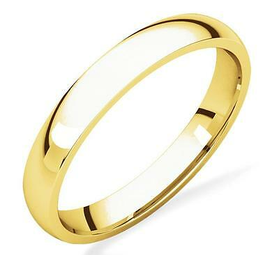 Ladies Yellow Gold Plain Domed Wedding Band 3mm Wide 10K Yellow Gold Comfort Fit