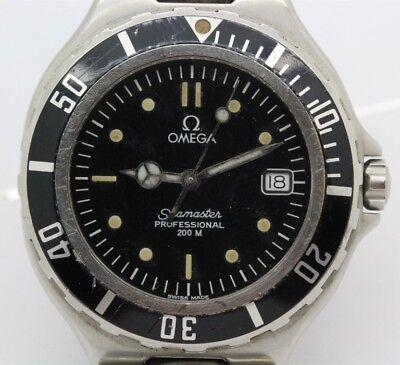 Working Men's Vintage OMEGA Seamaster Professional 200M Black Quartz Date Watch