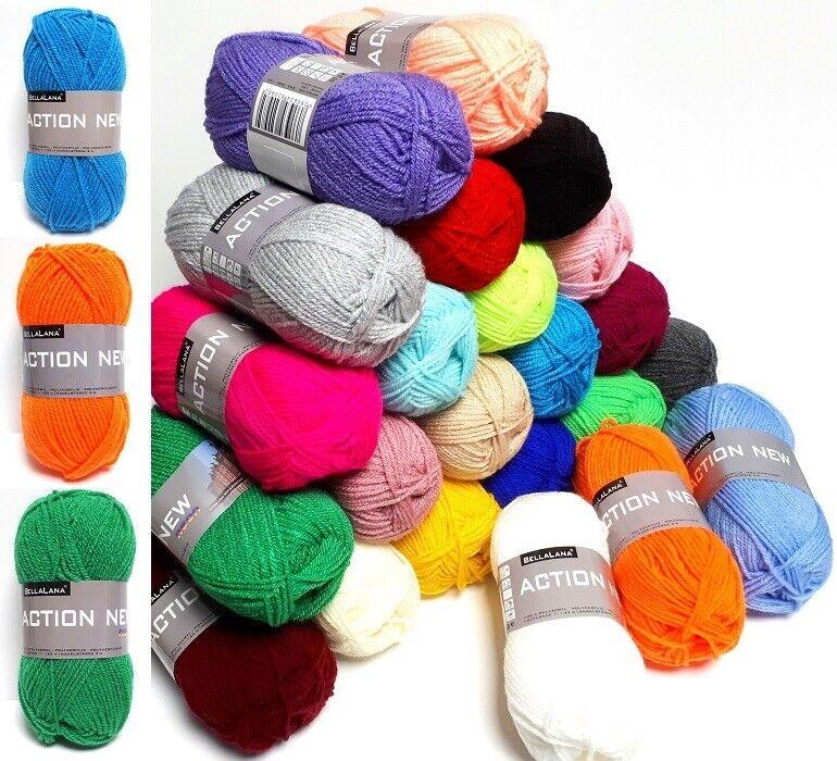 50 g ACTION NEW BellaLana (2,20 € / 100 g) Strickgarn Häkelwolle viele Farben