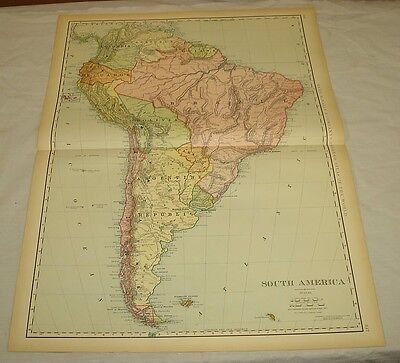 1904 Rand McNally COLOR MAP of SOUTH AMERICA/21x27.5