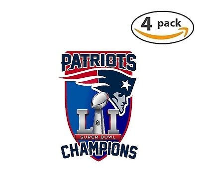 New England Patriots Super Bowl 51 Champions Decal Football 4 Stickers v2