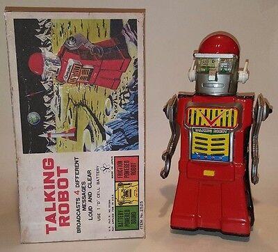 Yonezawa Talking Robot -1965 Japan Tin Litho Battery Operated Space Toy Cragstan