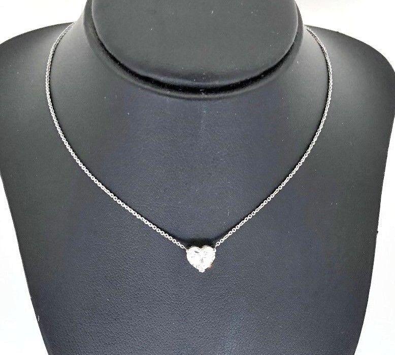 Heart Shape Diamond Solitaire Pendant Necklace 1ct GIA Christmas Engagement