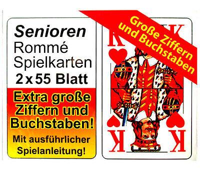 Senioren Romme Karten Spielkarten Extra große Ziffern 2 x 55 Blatt