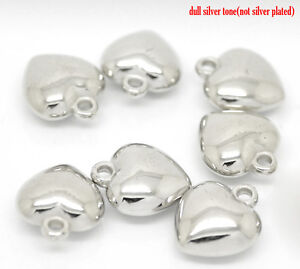 30 SILVER TONE CCB PUFFED HEART CHARMS/PENDANTS 14x11mm JEWELLERY CRAFTING (17F)