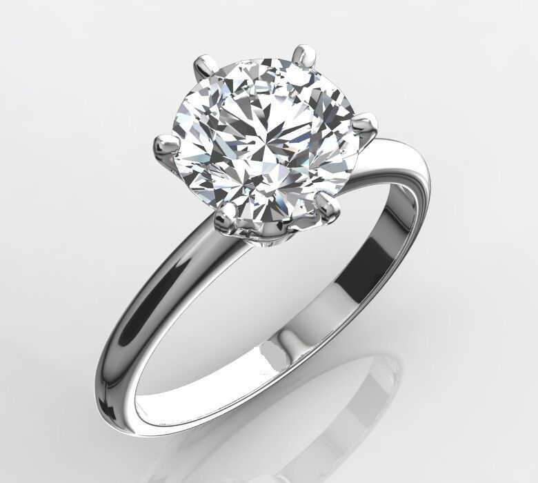Diamond Solitaire Engagement Ring 1 Carat Round Cut D Vs2 14k White Gold