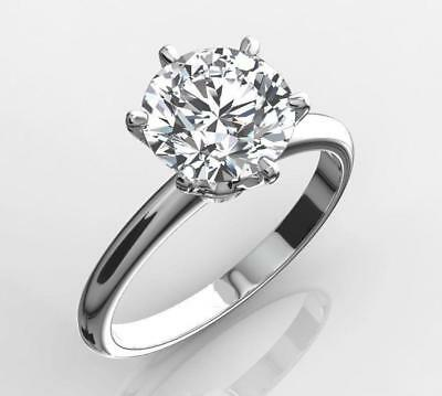 DIAMOND SOLITAIRE ENGAGEMENT RING 1.5 CARAT ROUND CUT D VS2 14K WHITE GOLD - Ideal Cut Diamond Solitaire Ring
