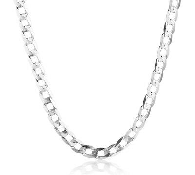 Cuban Style Curb Chain Necklace (925 Sterling Silver Women's Men's Curb Link Cuban Style Chain 20