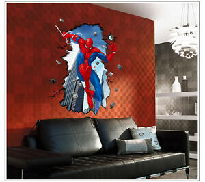 ... Spider-Man-Mural-Wall-Sticker-DIY-Art-Vinyl-Decal-Kids-Boy-Room-Decor