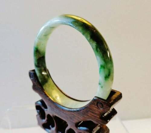 "Vintage Chinese translucent dark green jadeite ""D"" bangle jade bracelet"