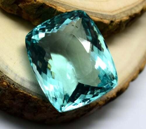 108 Ct Light Blue Natural Aquamarine Loose Gemstone Cushion Cut Certified