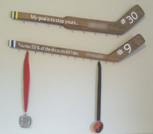 Personalized hockey medal holders wall decor (Local)