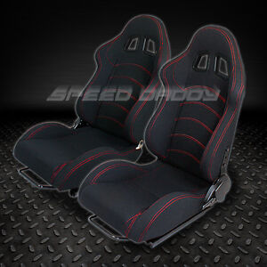 1 PAIR UNIVERSAL LIGHT FULLY RECLINABLE RACING WOVEN SEATS+SLIDER TYPE F1 BLACK