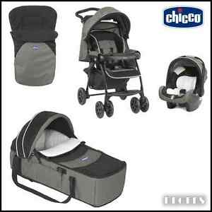 NEW CHICCO TODAY DUO COMPLETE 3 IN 1 TRAVEL SYSTEM BLACK AND GREY & ACCESSORIES