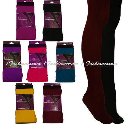 L43 Set of 2 Pairs Leg Impression Opaque Tights. S/M.Black,Pink,Yellow,Blue...